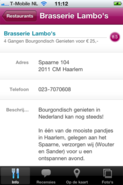 de details van een restaurant in de eet.nu iPhone app