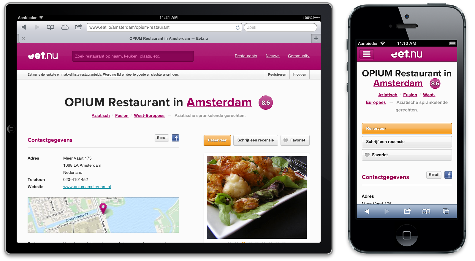 Tablet en telefoon restaurantpagina