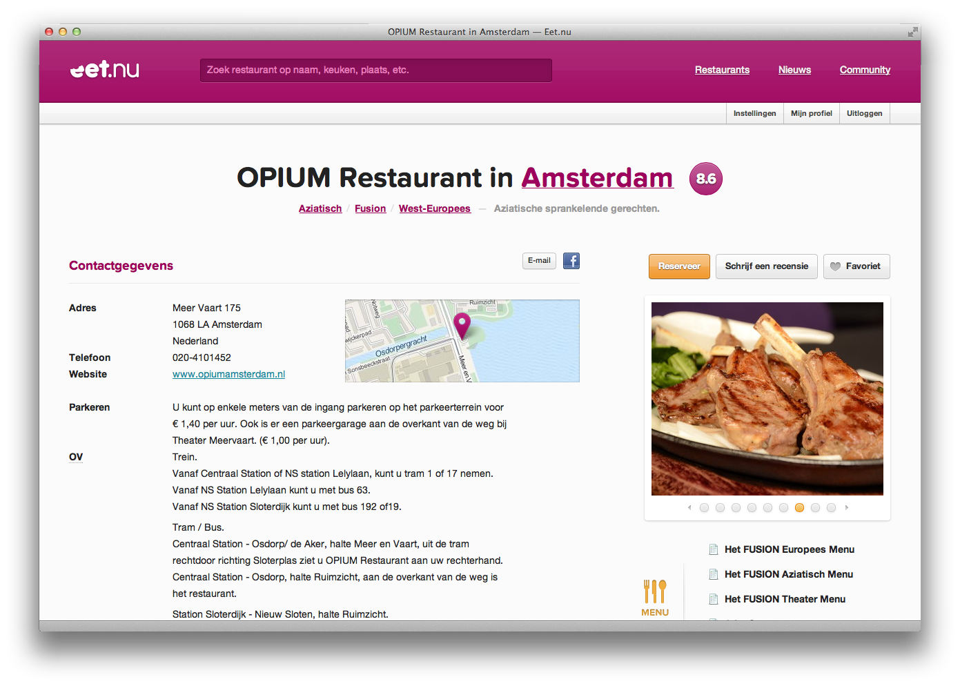 Widescreen restaurantpagina