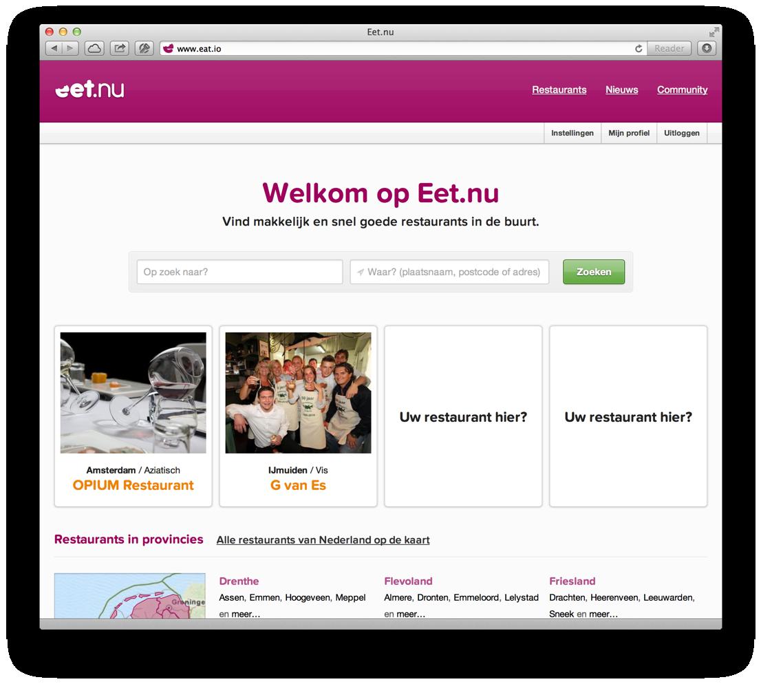 De nieuwe homepage